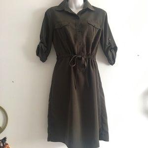 Dark Green Sleeveless Shirt Dress - M